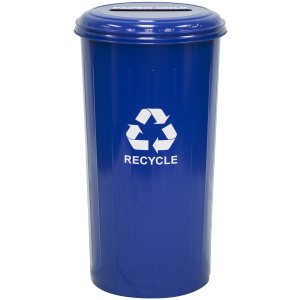 20 Gallon Tall Round Recycling Unit With Slotted Top in Blue