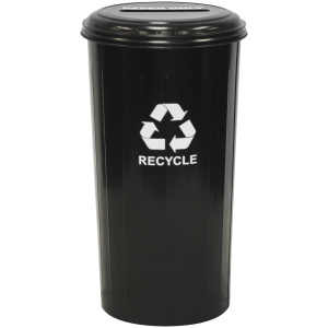 20 Gallon Tall Round Recycling Unit With Slotted Top in Black