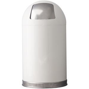 12 Gallon Dome Top Push Top in White Receptacle