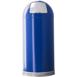 15 Gallon Dome Top Push Top in Blue Receptacle