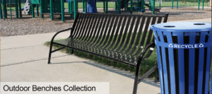 Outdoor Benches Collection in Black and Blue Recycling Receptacle Outdoor Environment