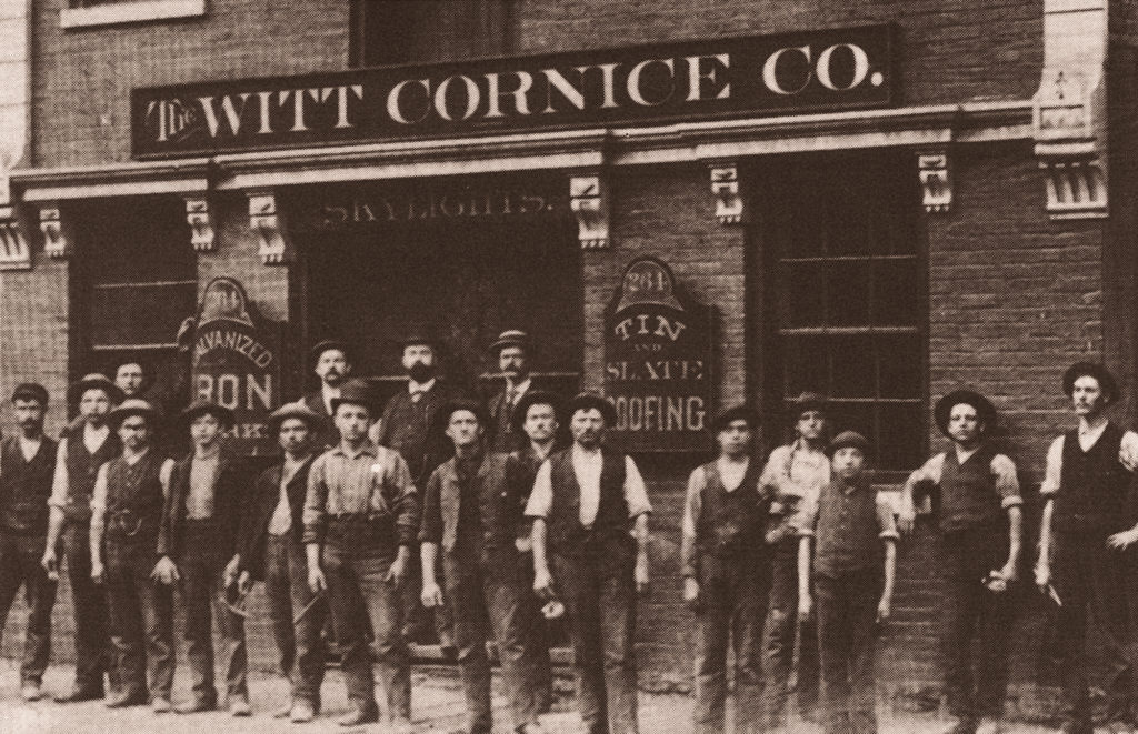 Historic Photo of Witt Employees Standing In Front of Building