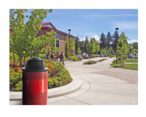 Witt Standard Series Red Receptacle in Outdoor Environment