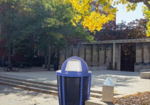 Witt EXP Collection Blue Receptacle in Outdoor Environment
