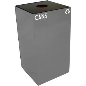 28 Gallon Geocube Cans Recycling Unit in Slate with Round Opening