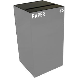 28 Gallon Geocube Paper Recycling Unit in Slate with Slot Opening