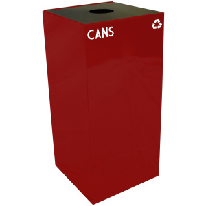 32 Gallon Geocube Cans Recycling Unit in Scarlet Red with Round Opening