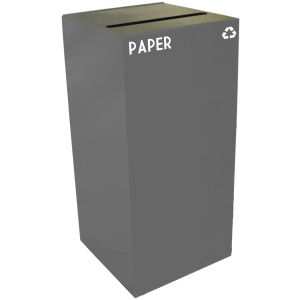 32 Gallon Geocube Paper Recycling Unit in Slate with Slot Opening