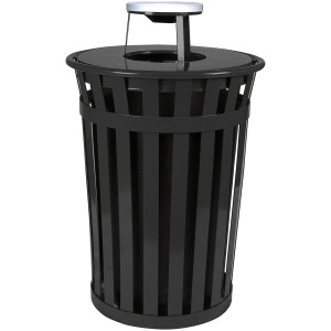 36 Gallon Oakley Standard Receptacle in Black with Ash Top