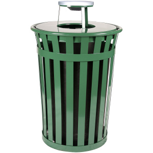 36 Gallon Oakley Standard Receptacle in Green with Ash Top