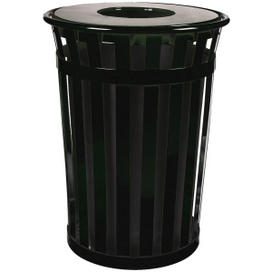 36 Gallon Oakley Standard Receptacle in Black with Flat Top