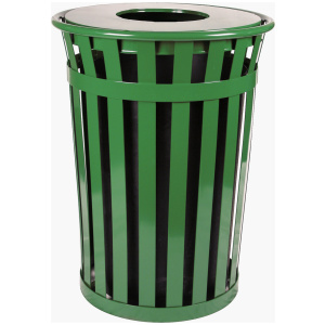 36 Gallon Oakley Standard Receptacle in Green with Flat Top