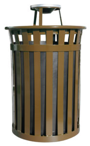 50 Gallon Oakley Standard Receptacle in Brown with Ash Top