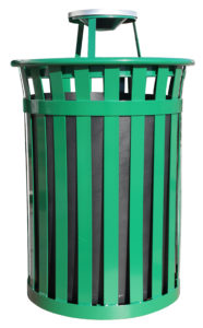 50 Gallon Oakley Standard Receptacle in Green with Ash Top