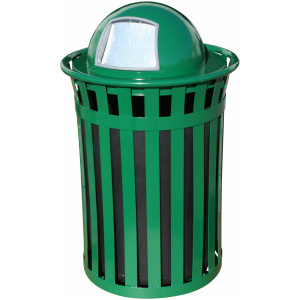 50 Gallon Oakley Standard Receptacle in Green with Dome Top
