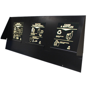 Witt Geocube Recycling Commercial Trash Cans Message Board in Black with Magnets