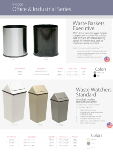 Witt Indoor Office and Industrial Waste Basket and Watcher Catalog Page Transparent