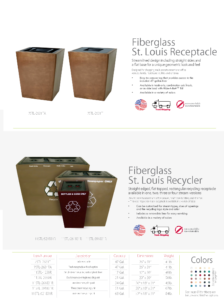 Witt Fiberglass St. Louis Receptacle and Recycler Catalog Page Transparent