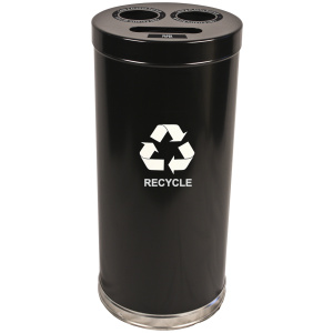 15 Gallon Emoti-can Three Opening Recycling Unit in Black Single Plastic Liner