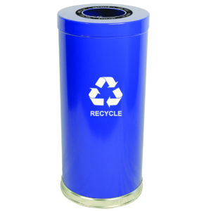 15 Gallon Emoti-can One Opening Recycling Unit in Blue Single Plastic Liner