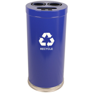 15 Gallon Emoti-can Three Opening Recycling Unit in Blue Single Plastic Liner