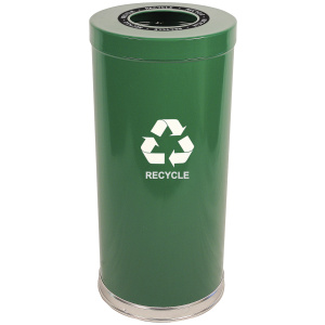 15 Gallon Emoti-can One Opening Recycling Unit in Green Single Plastic Liner