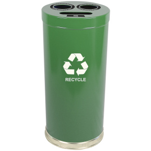 15 Gallon Emoti-can Three Opening Recycling Unit in Green Single Plastic Liner