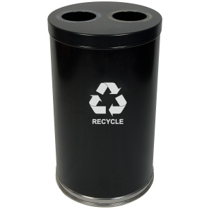20 Gallon Emoti-can Two Opening Recycling Unit in Black Single Plastic Liner