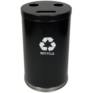 20 Gallon Emoti-can Three Opening Recycling Unit in Black Single Plastic Liner