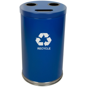 20 Gallon Emoti-can Three Opening Recycling Unit in Blue Single Plastic Liner