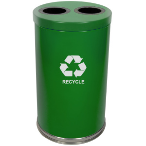 20 Gallon Emoti-can Two Opening Recycling Unit in Green Single Plastic Liner