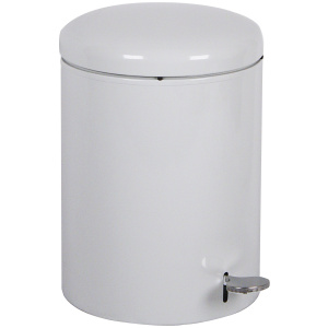 4 Gallon Office/Medical Industrial Step-on Receptacle with Plastic Liner in White