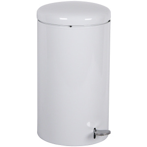 7 Gallon Office/Medical Industrial Step-on Receptacle with Plastic Liner in White