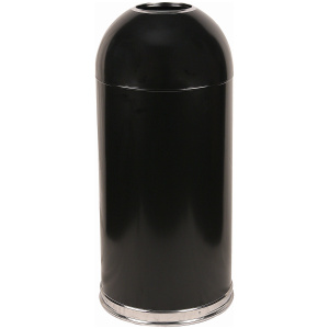 15 Gallon Dome Top Open Top Receptacle in Black