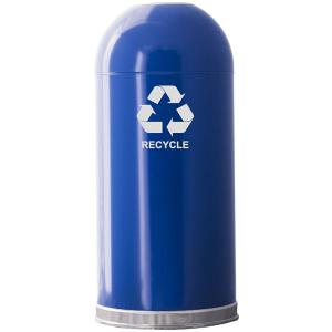 Witt 15 Gallon Open Top Recycling Receptacle in Blue with Galvanized Liner