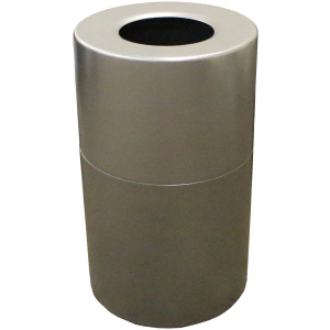 35 Gallon Aluminum Series Receptacle in Silver Vein with Plastic Liner