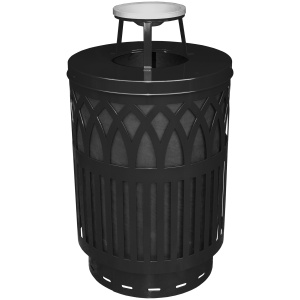 40 Gallon Covington Series Receptacle in Black with Ash Top