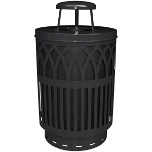 40 Gallon Covington Series Receptacle in Black with Rain Cap