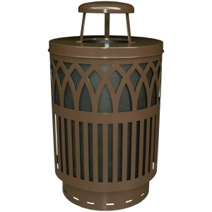 40 Gallon Covington Series Receptacle in Brown with Rain Cap