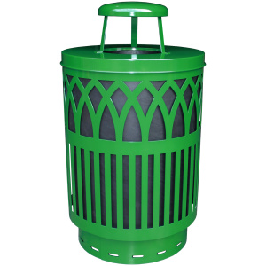 40 Gallon Covington Series Receptacle in Green with Rain Cap