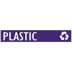 Purple Plastic Banner with Recycling Logo