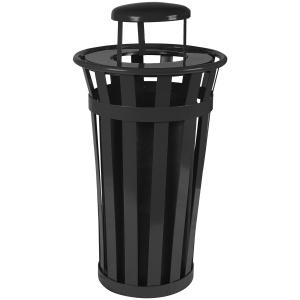 24 Gallon Oakley Standard Receptacle in Black with Rain Cap