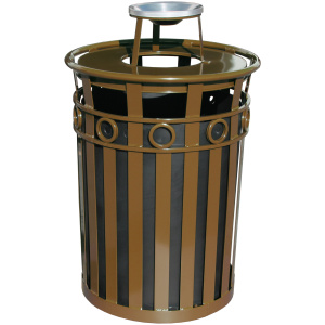 40 Gallon Oakley Decorative Series Receptacle in Brown with Ash Top