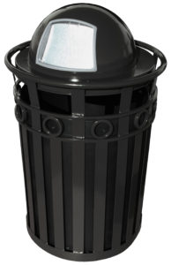 40 Gallon Oakley Decorative Series Receptacle in Black with Dome Top