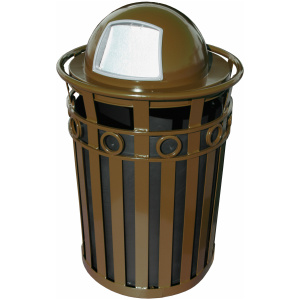 40 Gallon Oakley Decorative Series Receptacle in Brown with Dome Top