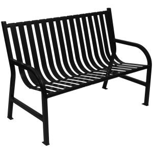 77 lb. Slatted Metal Bench in Black