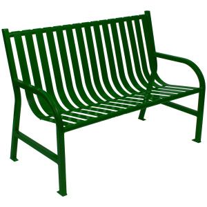 77 lb. Slatted Metal Bench in Green