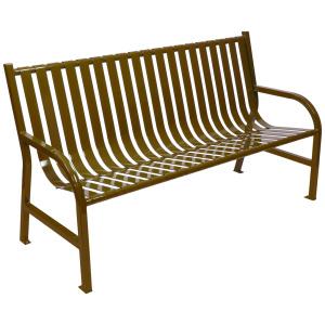 96 lb. Slatted Metal Bench in Brown