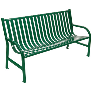 96 lb. Slatted Metal Bench in Green
