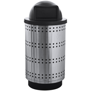 55 Gallon Paramount Collection Heavy Gauge Stainless Steel Receptacle with Dome Top